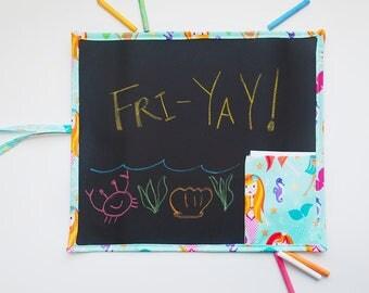 Kid's Mermaid Travel Chalkboard - Mermaid Chalkboard - Travel Chalkboard - Kid's Art Supplies - Mermaid Toys - Travel Toys