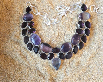 Fluorite and Amethyst and Sterling silver Necklace 18 inches in length
