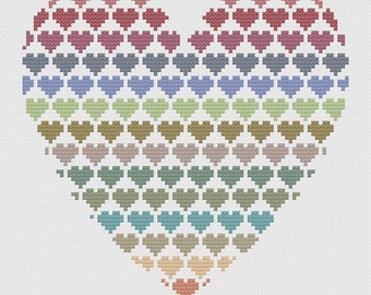 Hearts Cross Stitch Pattern PDF ** Instant Download **