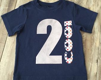 "Boys 2nd Birthday Shirt, Boys ""2 Cool"" Birthday Shirt, Size 2T, Ready to Ship"
