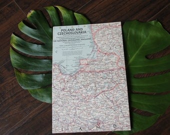 Vintage 1958 Map of Poland and Czechoslovakia - National Geographic