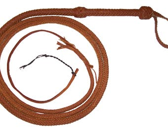 8 Foot 12 Plait TAN Bullwhip INDIANA Jones Style Real Leather BULLWHIP  with nylon popper