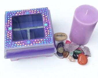 Purple Flower Jewellery Box Spiritual Gift Wooden Gifts For Girls Girls Keepsake Gifts Magical Gifts Jewellery Storage Trinket Box Crystal