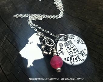 Hand Stamped Alice in Wonderland 'Drink Me' Necklace, Alice Charm Necklace, Whimsical, Wonderland, Stamped Metal Jewellery, Stamped Jewelry.