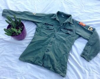 Vintage Vietnam Era Long Sleeve Button Shirt w/ Shoulder Patches