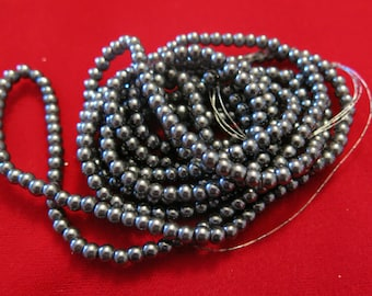 "200pc ""gunmetal"" imitation pearl spacer bead string (BC1191)"