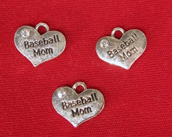 """BULK! 15pc """"Baseball Mom"""" charms in antique silver style (BC1202B)"""