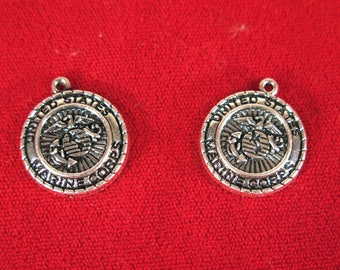 "5pc ""Marine Corps"" charms in antique silver style (BC1235)"