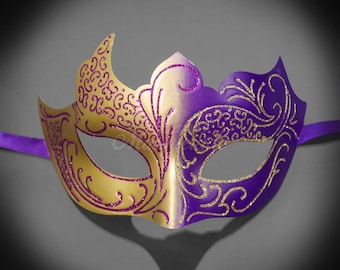4everstore Purple Masquerade Mask, Gold Masquerade Mask, Women's Mask, Ombre Mask