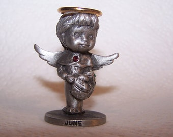 L'il Angels Pewter, Month -- JUNE -- Angel, Angel Wings, Birth Month, Holiday Art, Genuine Fine Pewter, Cathedral Since 1920