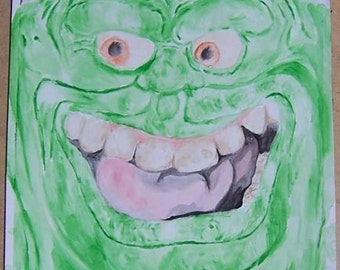 Ghostbusters Slimer 9x12 acrylic painting