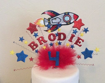 Handmade space rocket cake topper /centre peice made with your choice of name and age