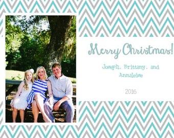 Grey and Aqua Chevron Photo Christmas Card