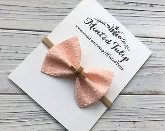 Ballet Pink Glitter with Brown Suede Tie Bow on Headband or Hair Clip Baby Toddler Kids