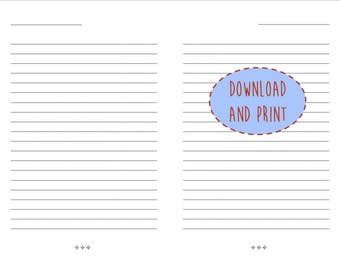 Lined Paper Instant Download | Letter Size | Journal Pages | Lined Journal  Pages | Printable  Print College Ruled Paper