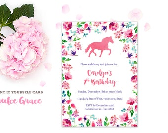 horse riding party, pony invitations, horse birthday invites, derby invites, horse racing invites, feminine invites, PRINTED or PRINTABLE