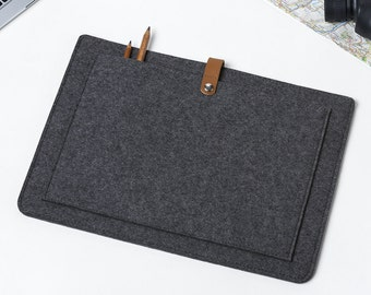MacBook Air 13 Sleeve – MacBook Case – Macbook Air 13 Cover - MacBook Leather - Felt and Leather Case - Macbook Sleeve - Front Pocket