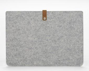 MacBook Pro 15 Retina Case - MacBook Felt Sleeve - MacBook Pro 15 Inch Cover - Felt and Leather MacBook Pro 15 Case - Grey Felt