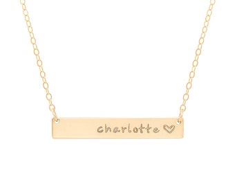 Personalized Gold Bar Necklace / Gold Engraved Name Necklace / Custom Bar Necklace