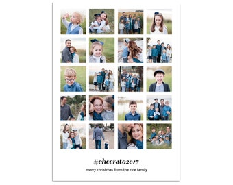 Instagram Photo Christmas Card // Multiple Photo Christmas Cards // Hashtag Holiday Cards // 5x7 Printable Photo Holiday Card // The Rices