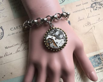 Jewerly, Steampunk Bracelet, Charm Bracelet, Jewelry, Watch Movement, Steampunk, Womens Bracelet, Gears, Gift Ideas