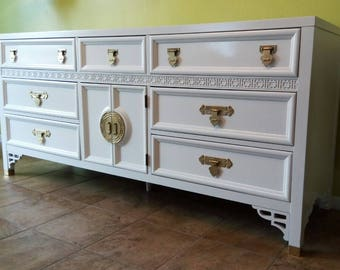 Dixie Vintage Chinoiserie Shangri-La Dresser in White Lacquer