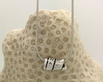 Sterling Silver Fork Tine Single Bead Necklace