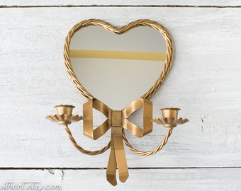 Vintage Mirror Candle Sconce - Gold Metal Sconce - Heart Decor