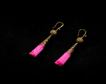 Earrings violet Pompon or pink fushia cone-mounted bronze antique 20mm