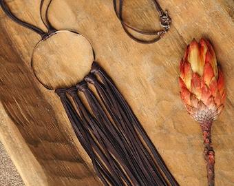 Sedona Leather Fringe Necklace