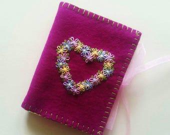 Wool Felt Needle Case, Embroidered Flower Needle Book, Violet Needlecase,
