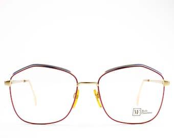 80s Vintage Oversized Glasses | Lavender Eyeglass Frame with Blue Browline | NOS 1980s Eyeglasses | Vintage Deadstock - 122