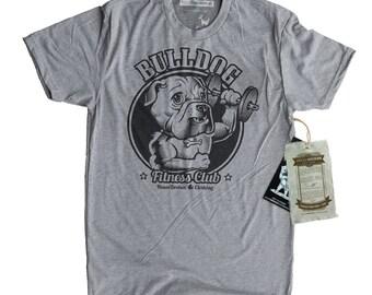 Bull Dog Shirt - Mens Gym Exercise Workout Bull Dog Shirt