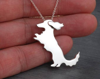 Longhaired Long coat Dachshund  Doxie Handcrafted sterling silver necklace