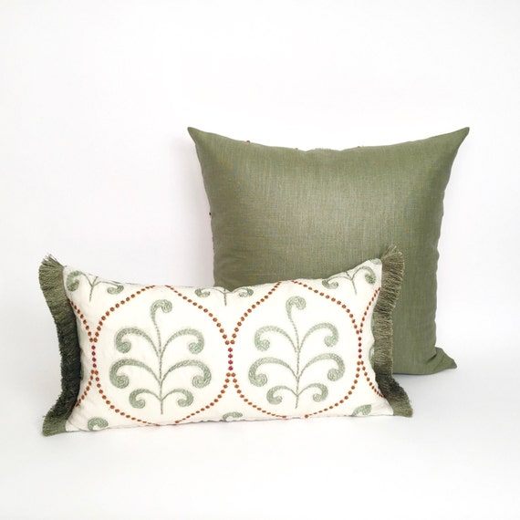 Modern Embroidered Pillow : Fabrinique - Unique Embroidered Pillows, Moss Green with Rust Modern Luxury Accent Pillow P-14 ...