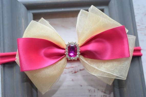 Special occasion fuchsia pink and gold bow headband - Baby / Toddler / Girls / Kids Headband / Hairband / Hair bow / Barrette / Hairclip