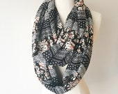 Black & Blush Floral Print Rayon Infinity Scarf - Gift for her, Mothers Day, Birthday, anniversary, summer, spring