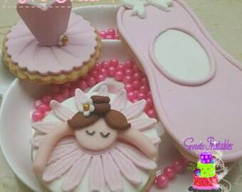 """Ballerina Sugar Cookie 2"""", Fondant Cookies, Party Favor Cookies"""