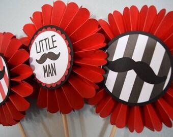Little man birthday party, little man centerpiece, rosette centerpiece, mustache birthday, 1st birthday, i am one, table decor