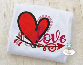 Love Heart Shirt or Bodysuit, Girl Valentine Shirt, Valentines Day Shirt, Valentines Day Outfit, Girls Heart Shirt