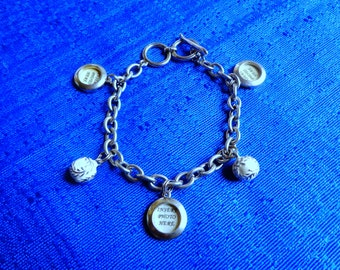 Softball Charm Bracelet,Personalized Sports Bracelet