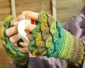 Fingerless mitts, ladies dragon scale gloves, crochet winter gloves, crocodile stitch mitts, ladies gloves - CUSTOM ORDER