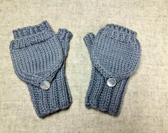 Organic Convertible Fingerless Gloves for babies, gray, merino wool, mittens with flap, many colours available
