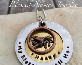 Hand Stamped Stainless Steel and bronze mother, grandmother, nanny bird necklace, My blessings call me, Mamaw, Nana, Mother's Day gift