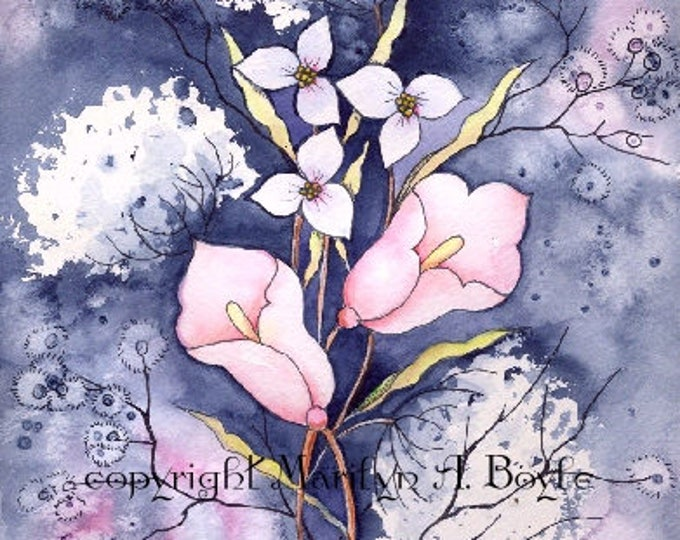 PRINT - WATERCOLOR FLOWERS; Calla lilies, queen anne's lace, garden, wall art, from original art, Canadian art,