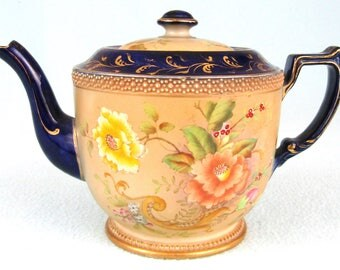 Stunning Vintage Carlton Ware Teapot, Rose & Curlicue Pattern, Floral Sprays, Blue and Ivory, Crown Backstamp, Early 20th Century, Unique
