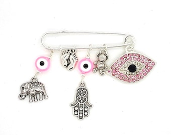 Stroller pin, Evil eye pin, baby pin, baby brooch, evil eye safety pin, hamsa pin, baby shower gift, mom to be gift, protection pin
