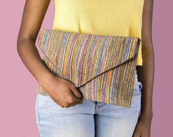 Multicolored Twill Envelope Clutch Bag