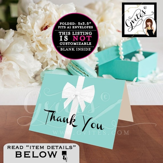 "Thank You Card Folded A1, Breakfast at blue theme bridal shower, baby, birthday sweet 16. Instant Download Printable. 5x3.5"" 2 Per/Sheet"
