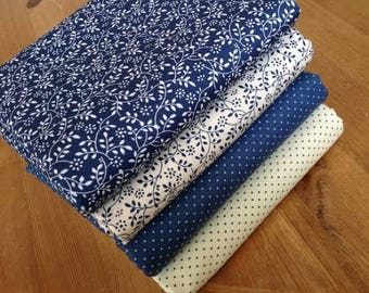 LEAF & PINDOT Fat Quarter Bundle 100% cotton fabrics in Vintage Blue